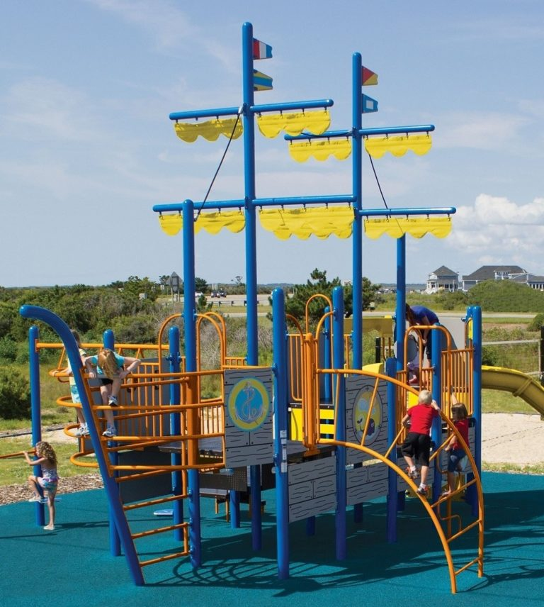 Playground equipment with ship theme for a community park.