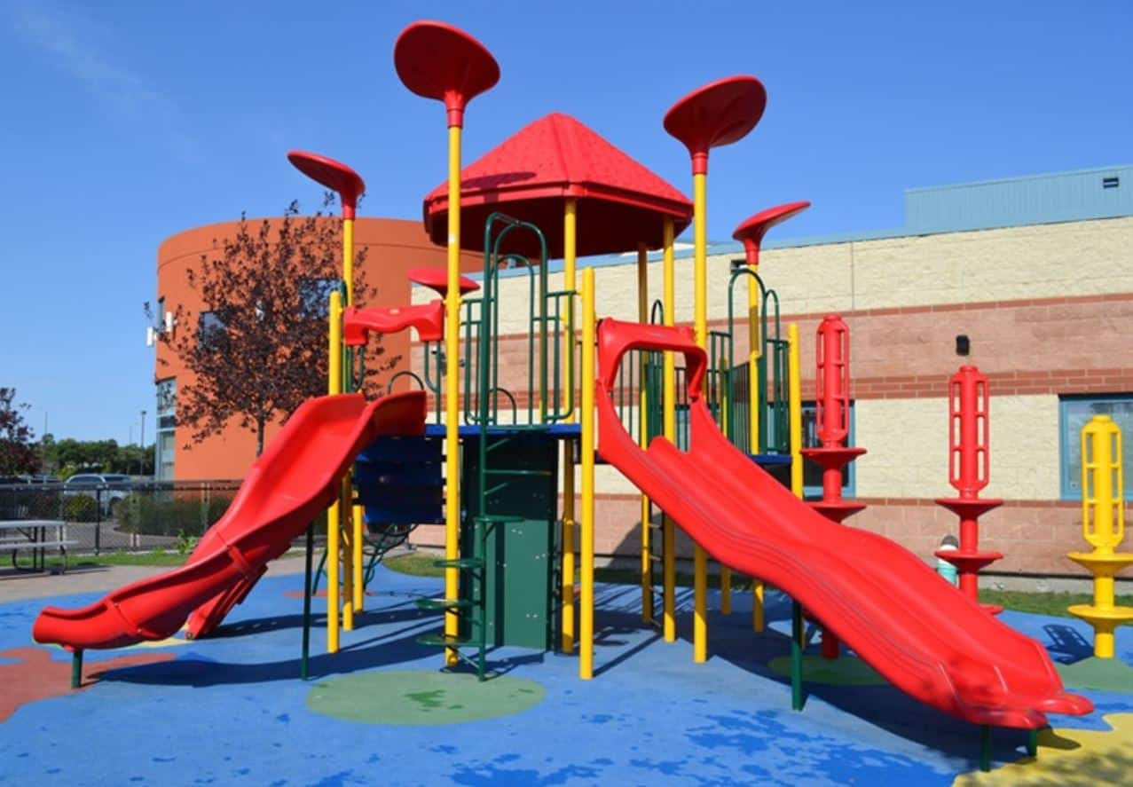 Playground structure with shade incorporated. Installed in Winnipeg, Manitoba.